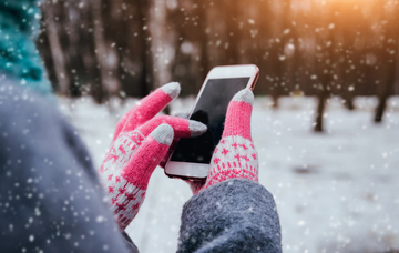 Using phone in snow